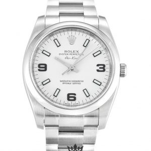 Rolex Air King Replica 114200 004 Silver Strap 34MM