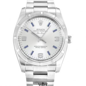 Rolex Air King Replica 114210 001 Silver Strap 34MM
