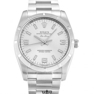Rolex Air King Replica 114210 002 Silver Strap 34MM