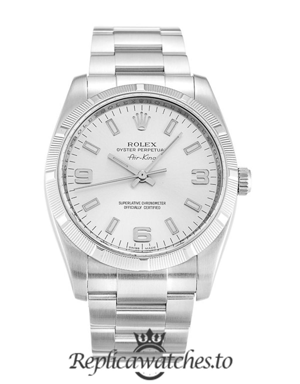 Rolex Air King Replica 114210 002 Silver Strap 34MM