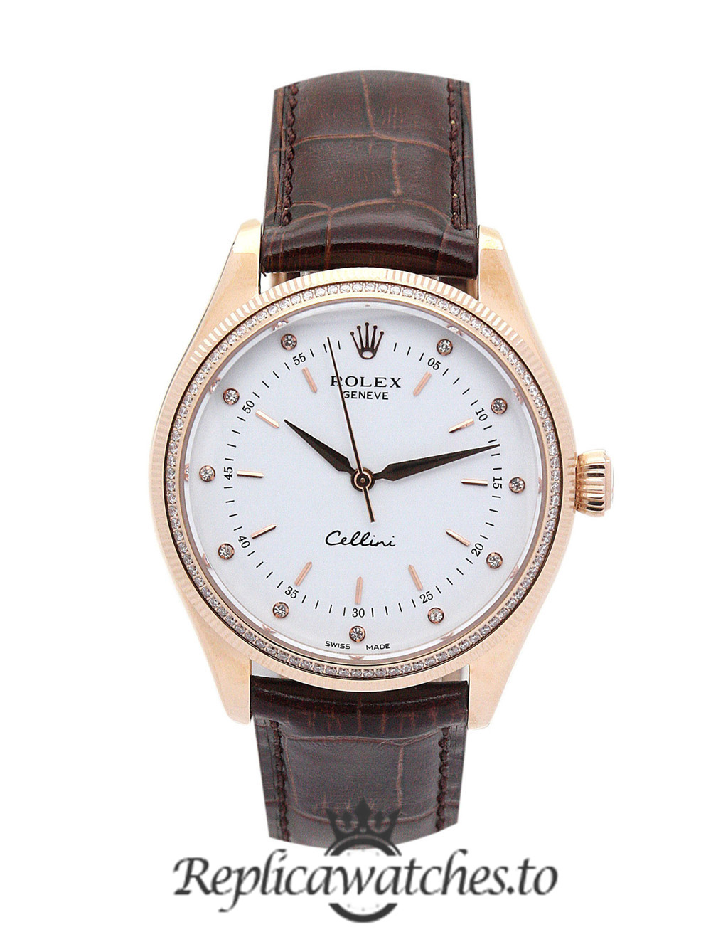 Rolex Cellini Replica 4233/8 002 Brown Strap 25MM