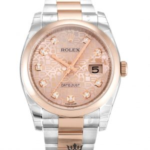 Rolex Datejust Replica 116201 001 Rose Gold Bezel 36MM