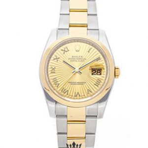 Rolex Datejust Replica 116203 001 Yellow Gold Bezel 36MM