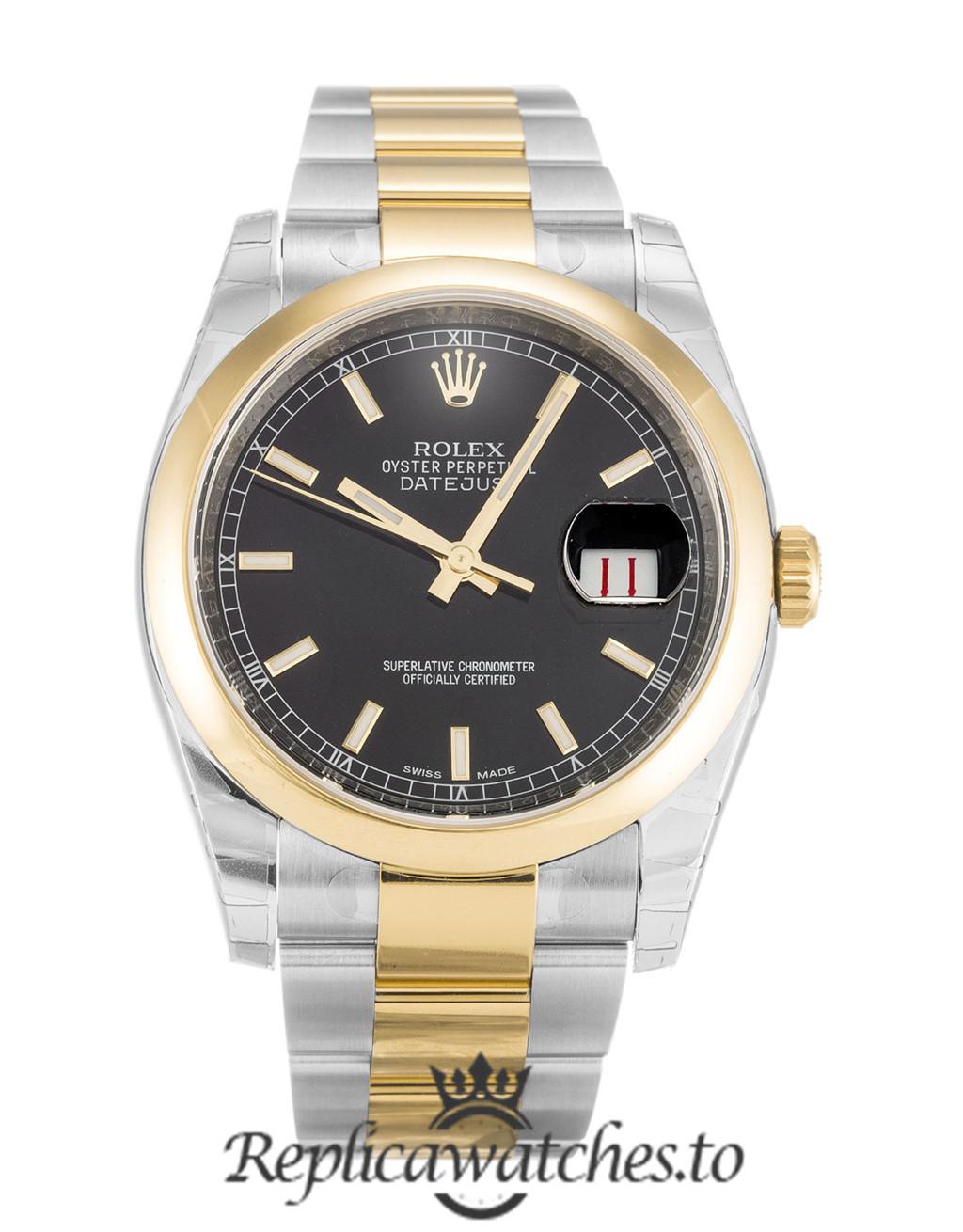 Rolex Datejust Replica 116203 Yellow Gold Bezel 36MM
