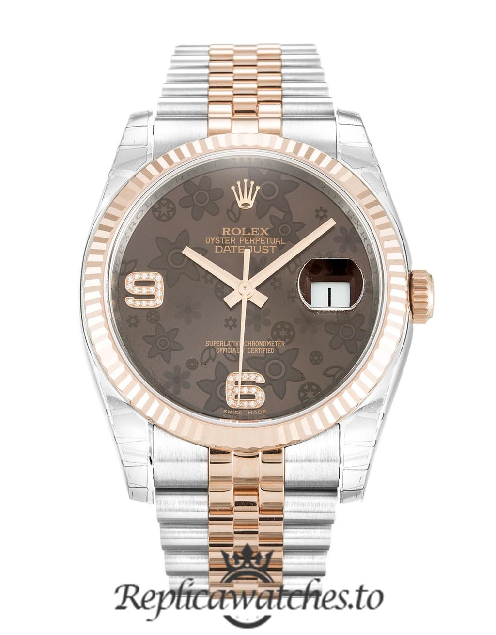 Rolex Datejust Replica 116231 003 Rose Gold Bezel 36MM