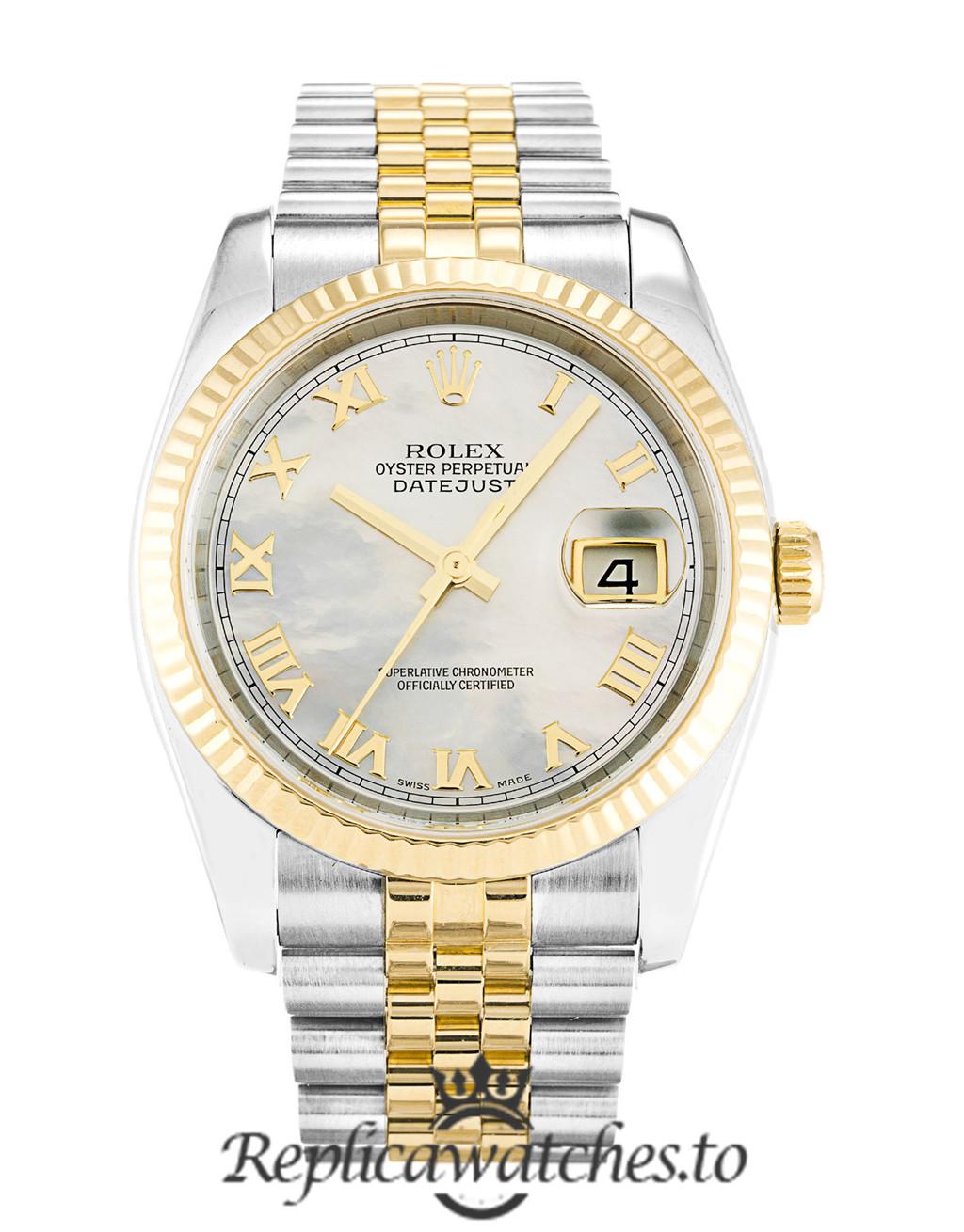 Rolex Datejust Replica 116233 002 Yellow Gold Bezel 36MM
