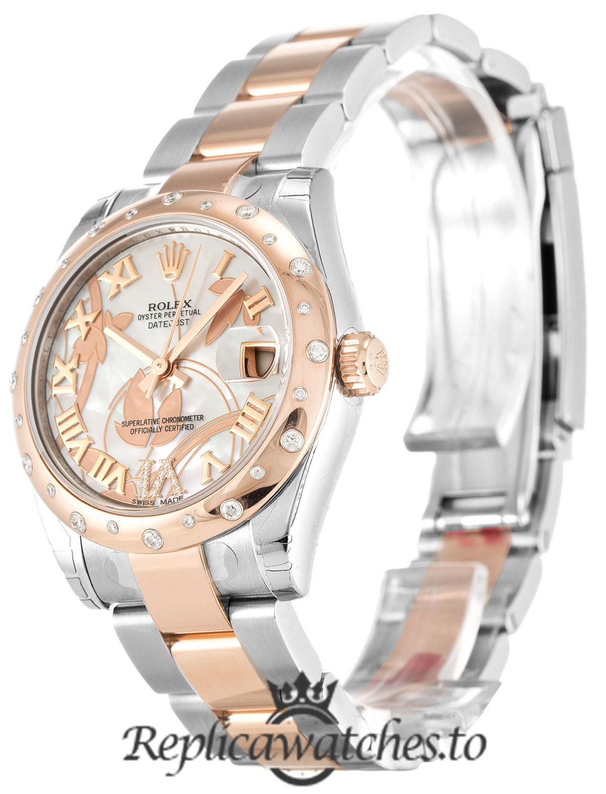Rolex Datejust Replica 178341 001 Rose Gold Bezel 31MM