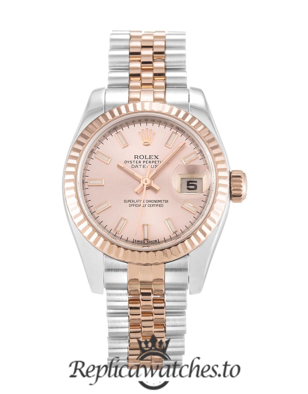 Rolex Datejust Replica 79174 002 Rose Gold Bezel 26MM