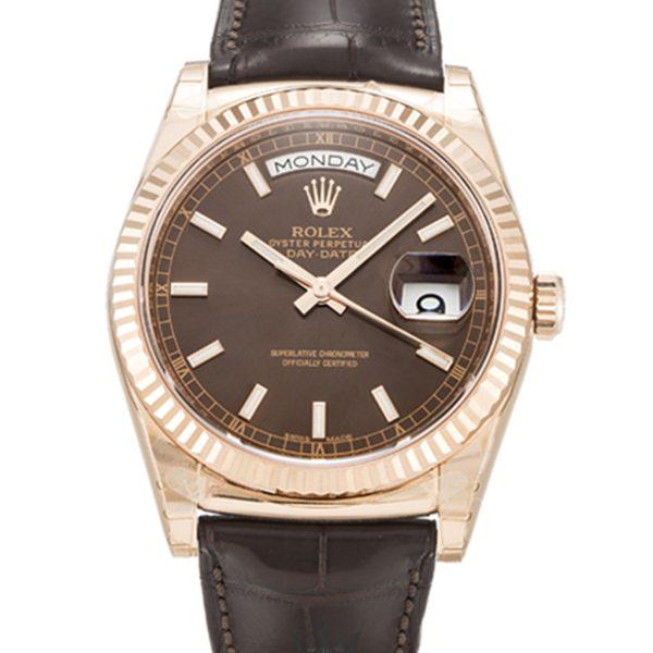 Rolex Day Date Replica 118135 001 Black Strap 36MM