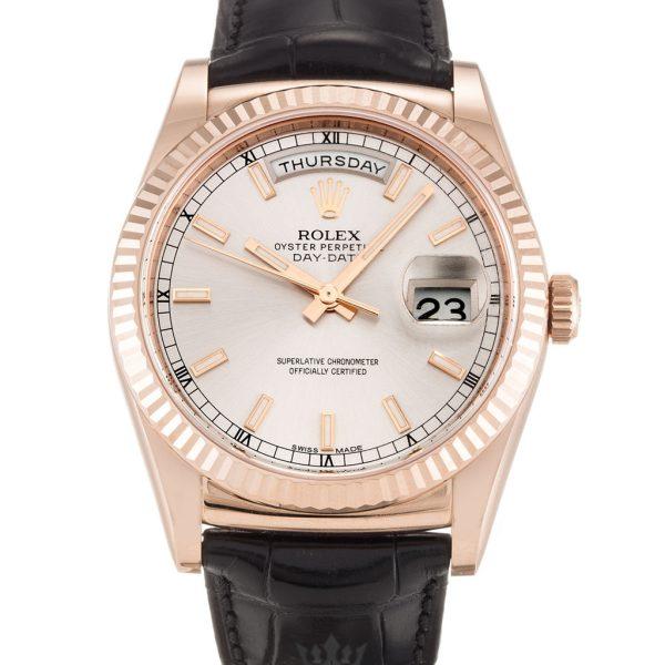 Rolex Day Date Replica 118135 Black Strap 36MM