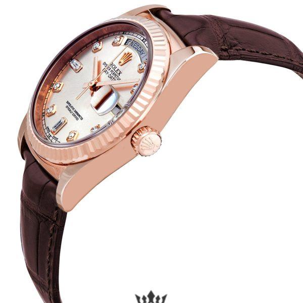 Rolex Day Date Replica 118135PKDL Brown Strap 36MM