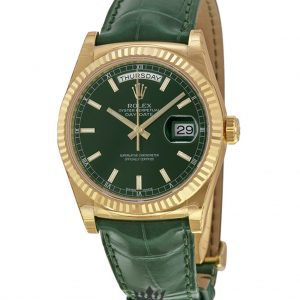 Rolex Day Date Replica 118138GSL Green Strap 36MM