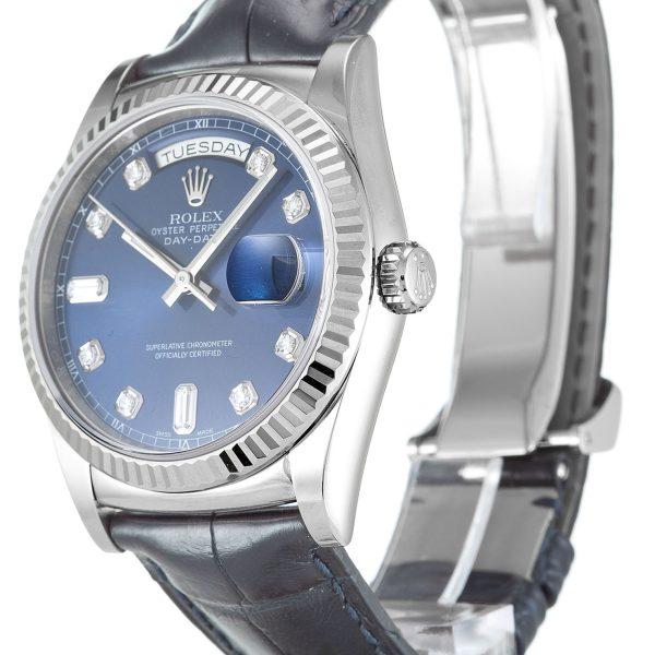 Rolex Day Date Replica 118139 Black Strap 36MM