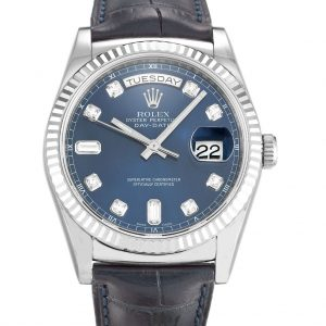 Rolex Day Date Replica 118139 Black Strap 36MM