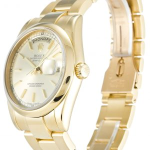 Rolex Day Date Replica 118208 001 Yellow Gold Strap 36MM