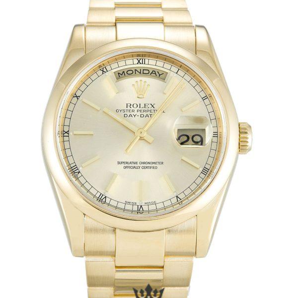 Rolex Day Date Replica 118208 001 Yellow Gold Strap 36MM