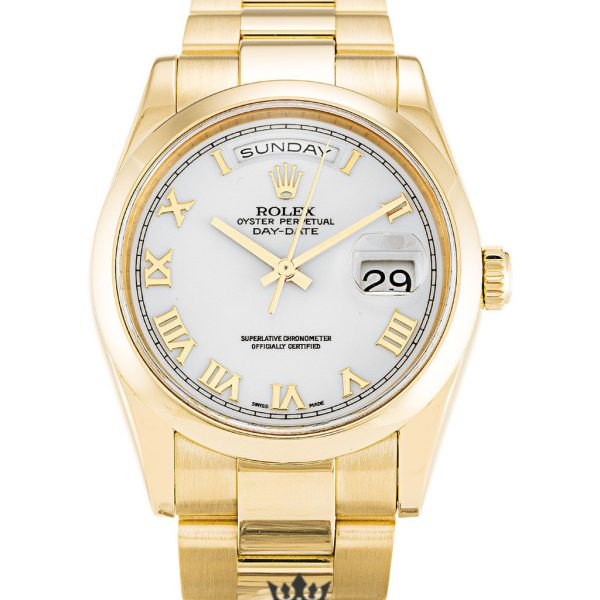 Rolex Day Date Replica 118208 Yellow Gold Strap 36MM