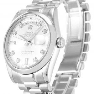 Rolex Day Date Replica 118209 001 Silver Strap 36MM