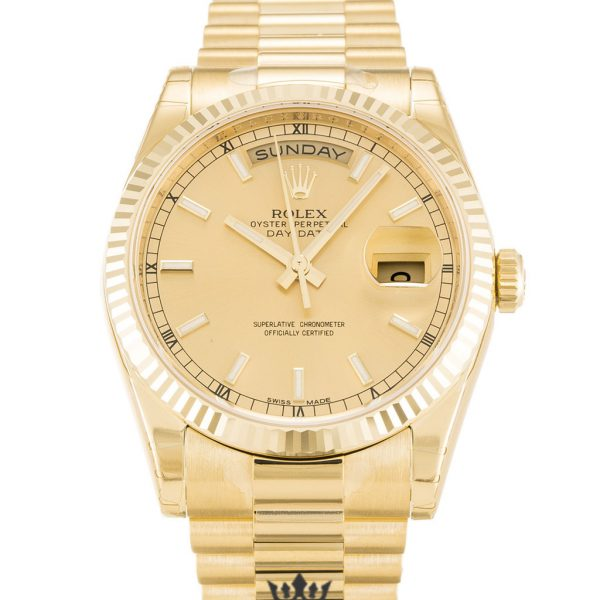 Rolex Day Date Replica 118238 004 Yellow Gold Strap 36MM