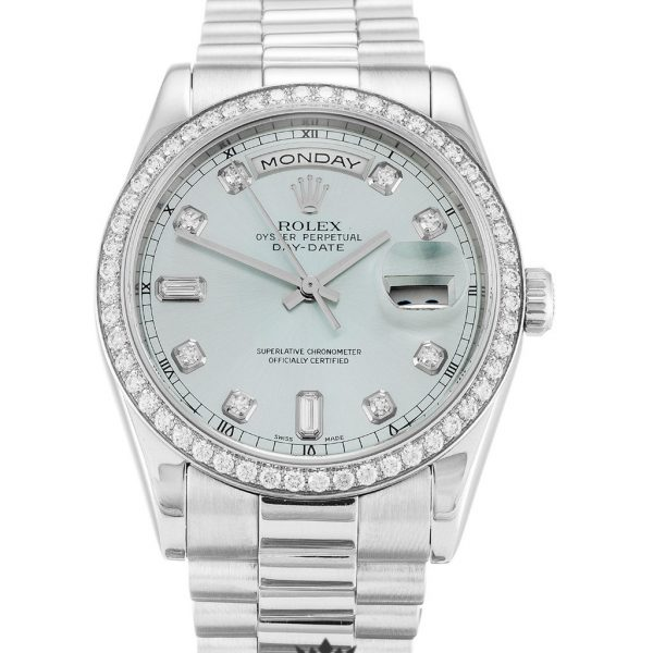 Rolex Day Date Replica 118346 001 Silver Strap 36MM