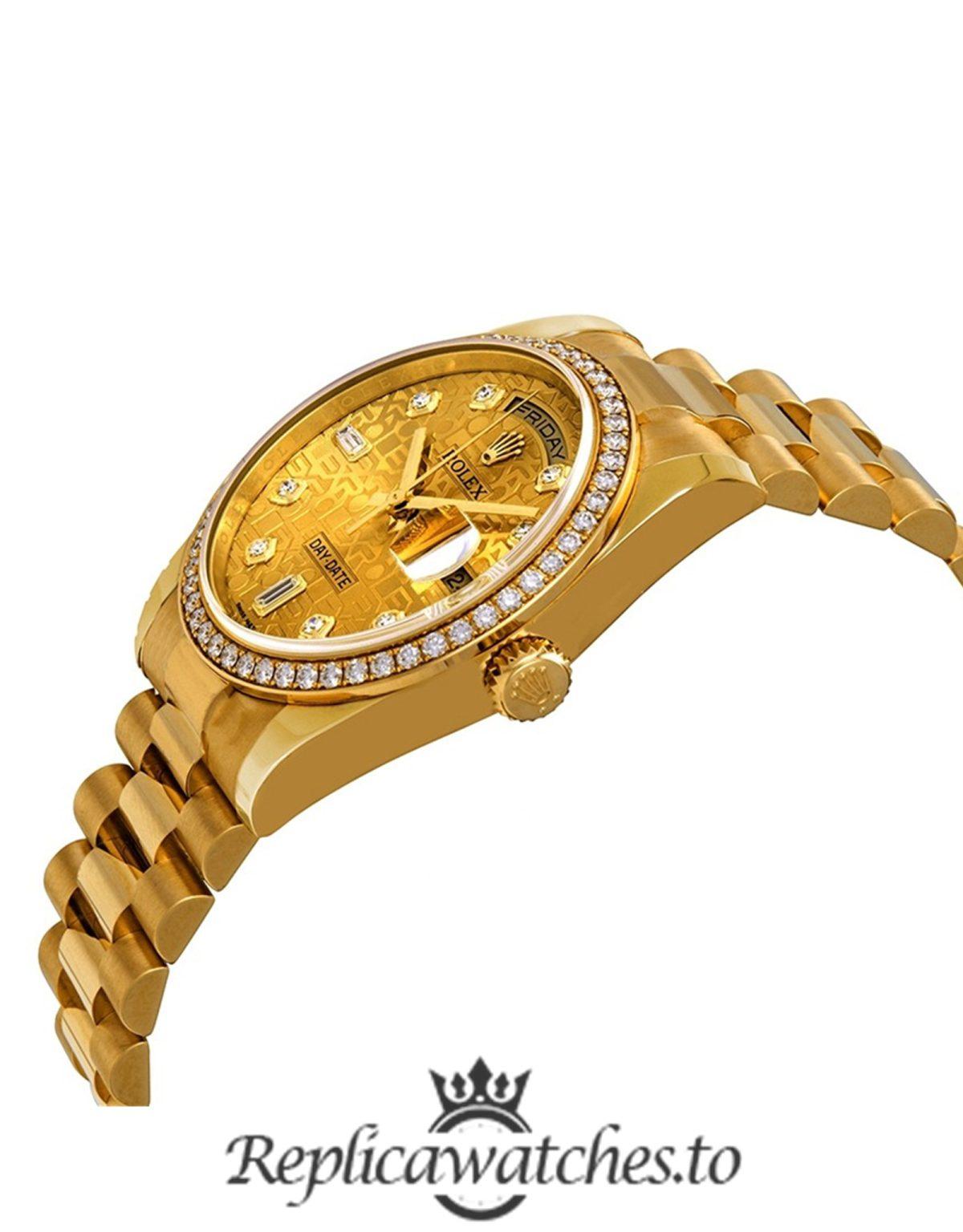 Rolex Day Date Replica 118348CJDP Yellow Gold Strap 36MM