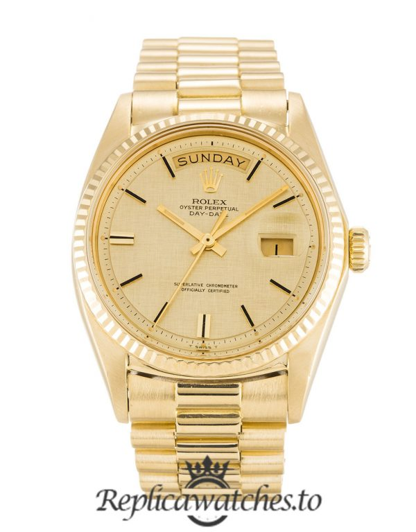 Rolex Day Date Replica 1803 Yellow Gold Strap 36MM