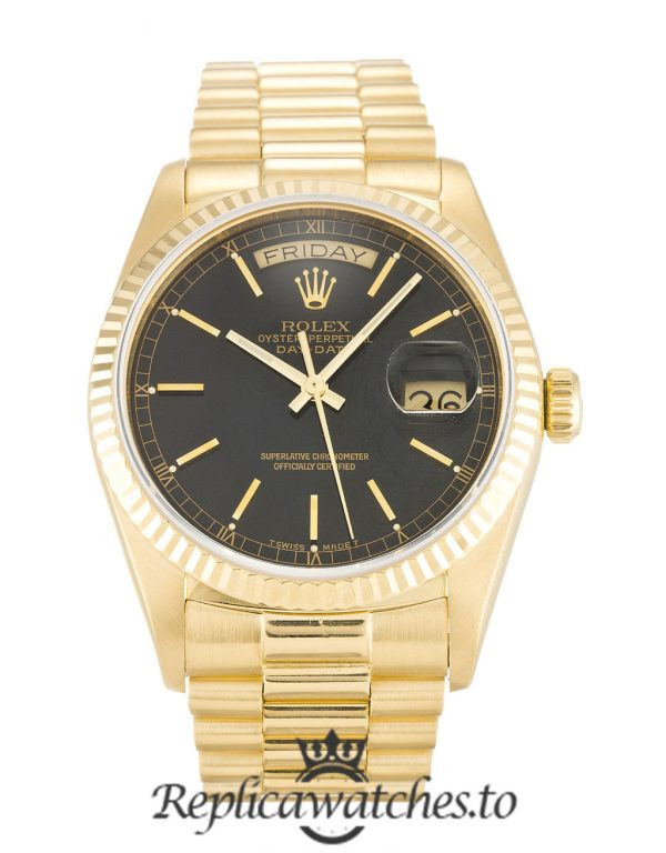Rolex Day Date Replica 18038 Yellow Gold Strap 36MM