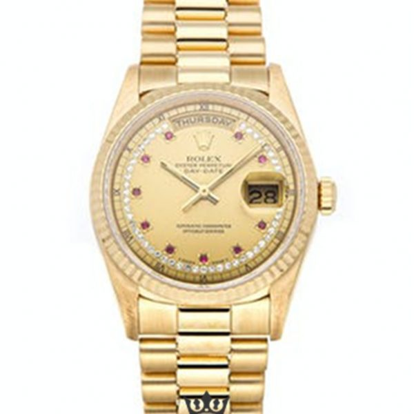Rolex Day Date Replica 18238 002 Yellow Gold Strap 36MM