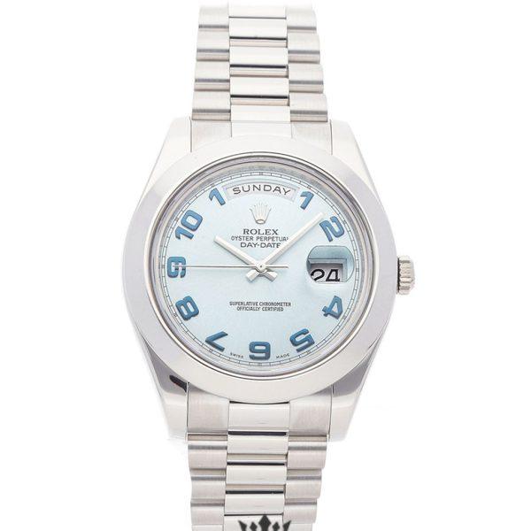 Rolex Day Date Replica 218206 001 Silver Strap 41MM