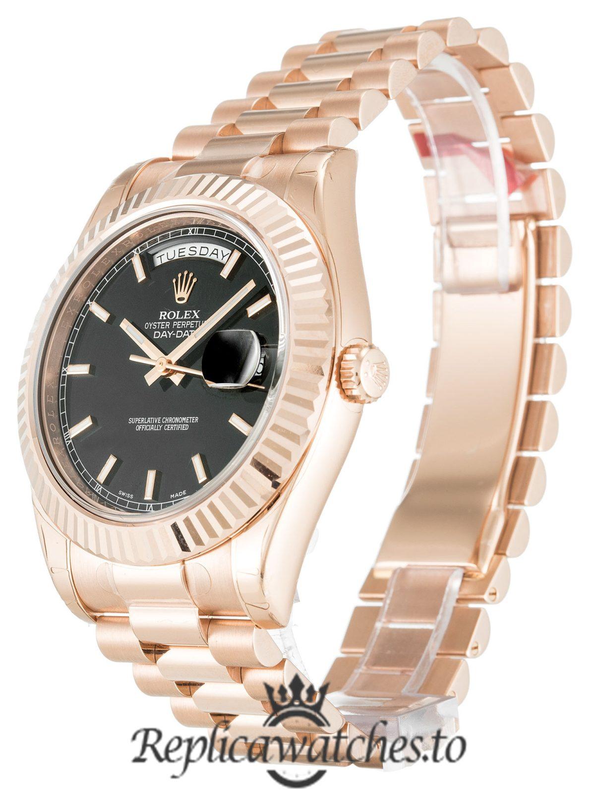 Rolex Day Date Replica 218235 001 Rose Gold Strap 41MM