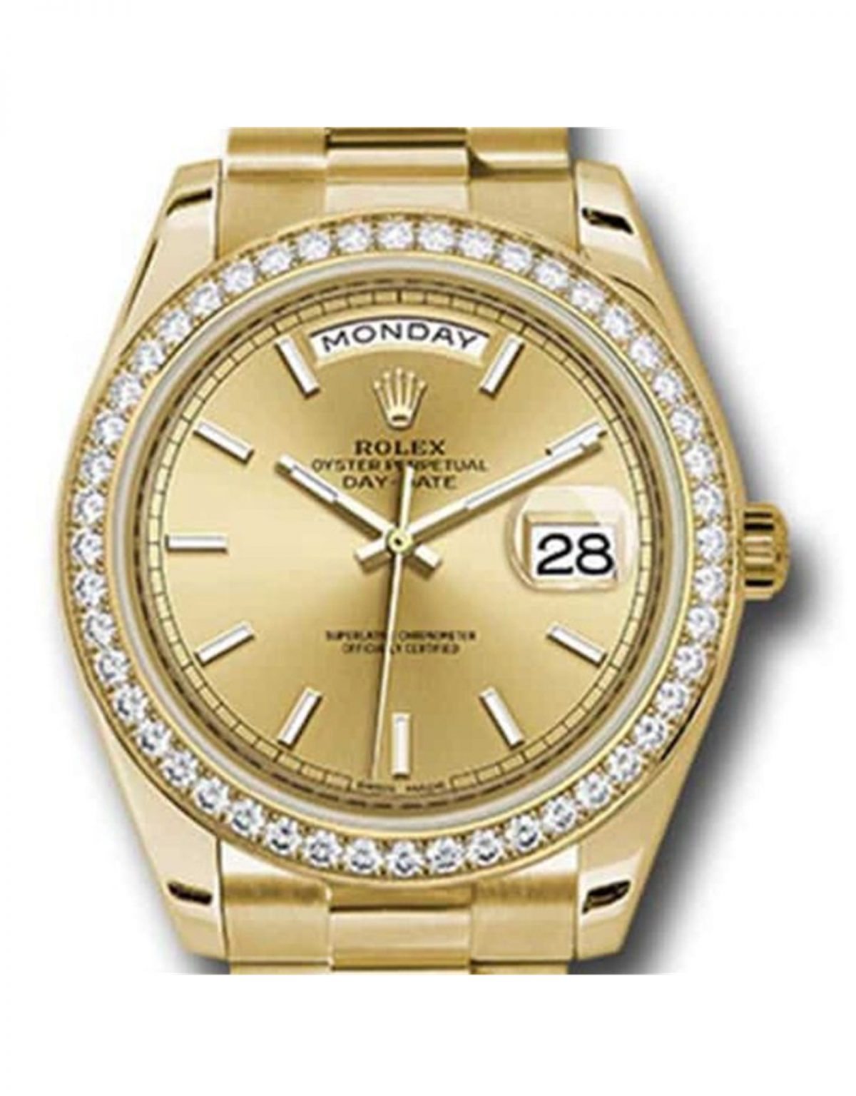 Rolex Day Date Replica 228348RBR 002 Yellow Gold Strap 40MM