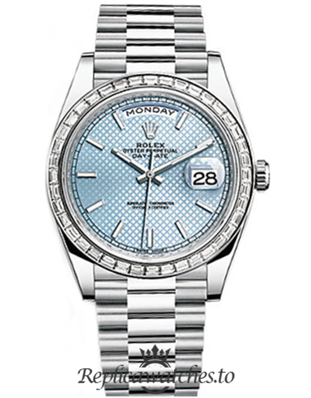Rolex Day Date Replica 228396TBR 002 Silver Strap 40MM