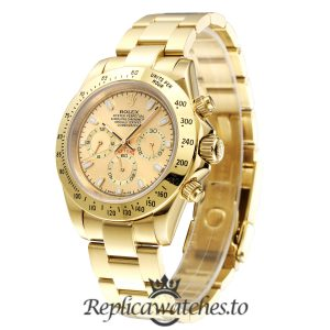 Rolex Daytona Replica 116508 001 Yellow Gold Strap 40MM