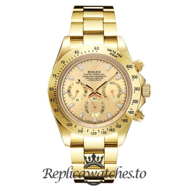 Rolex Daytona Replica 116508 001 Yellow Gold Strap 40MM