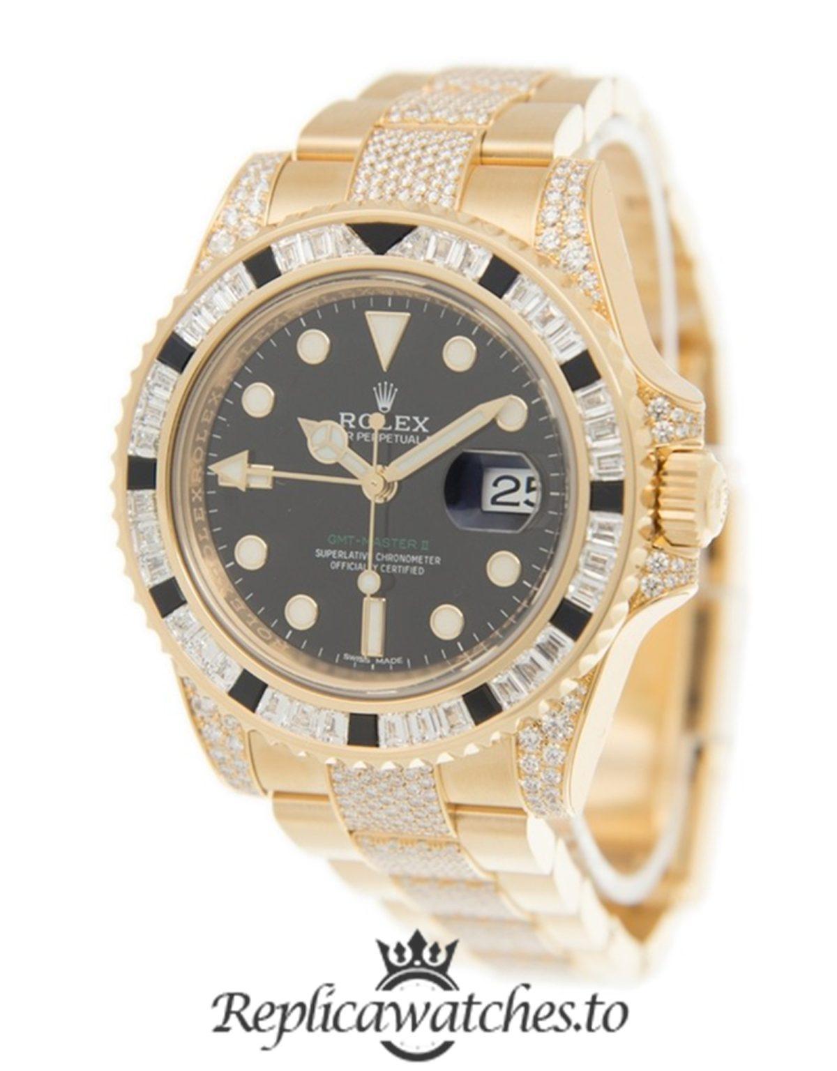 Rolex GMT Master Replica 116758 Yellow Gold Strap 40MM