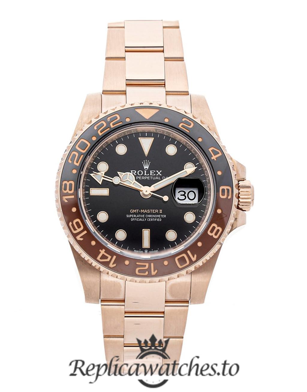 Rolex GMT Master Replica 126715CHNR Rose Gold Strap 40MM