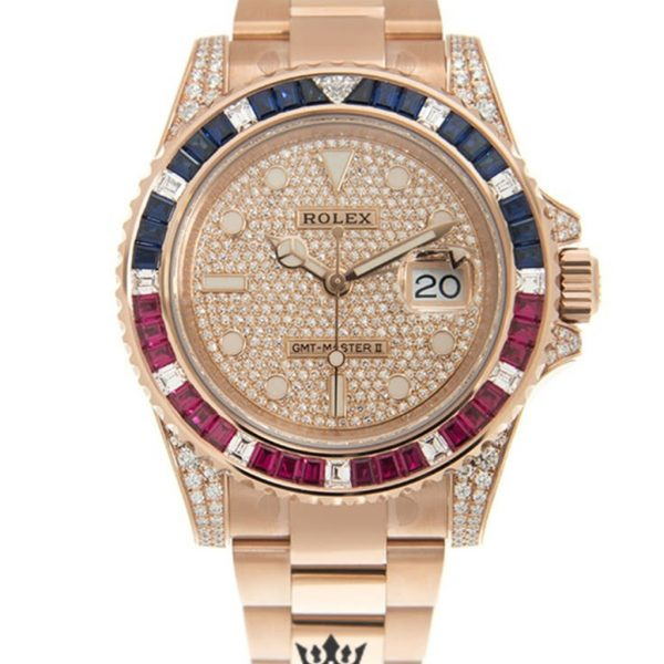 Rolex GMT Master Replica 126755SARU-PAVE Rose Gold Strap 40MM