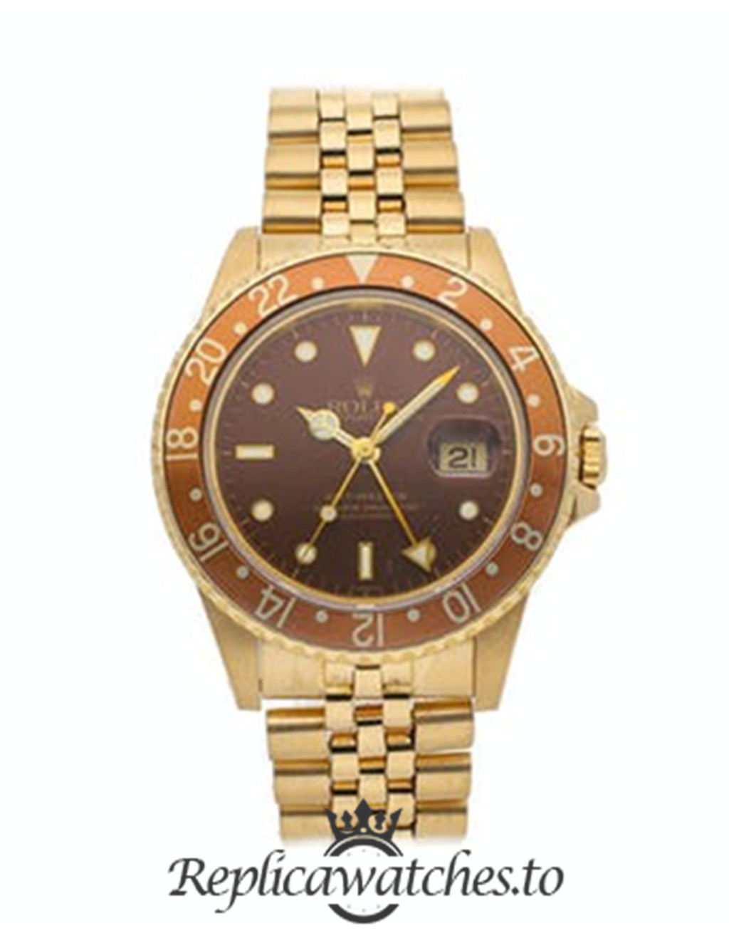 Rolex GMT Master Replica 16758 Yellow Gold Strap 40MM