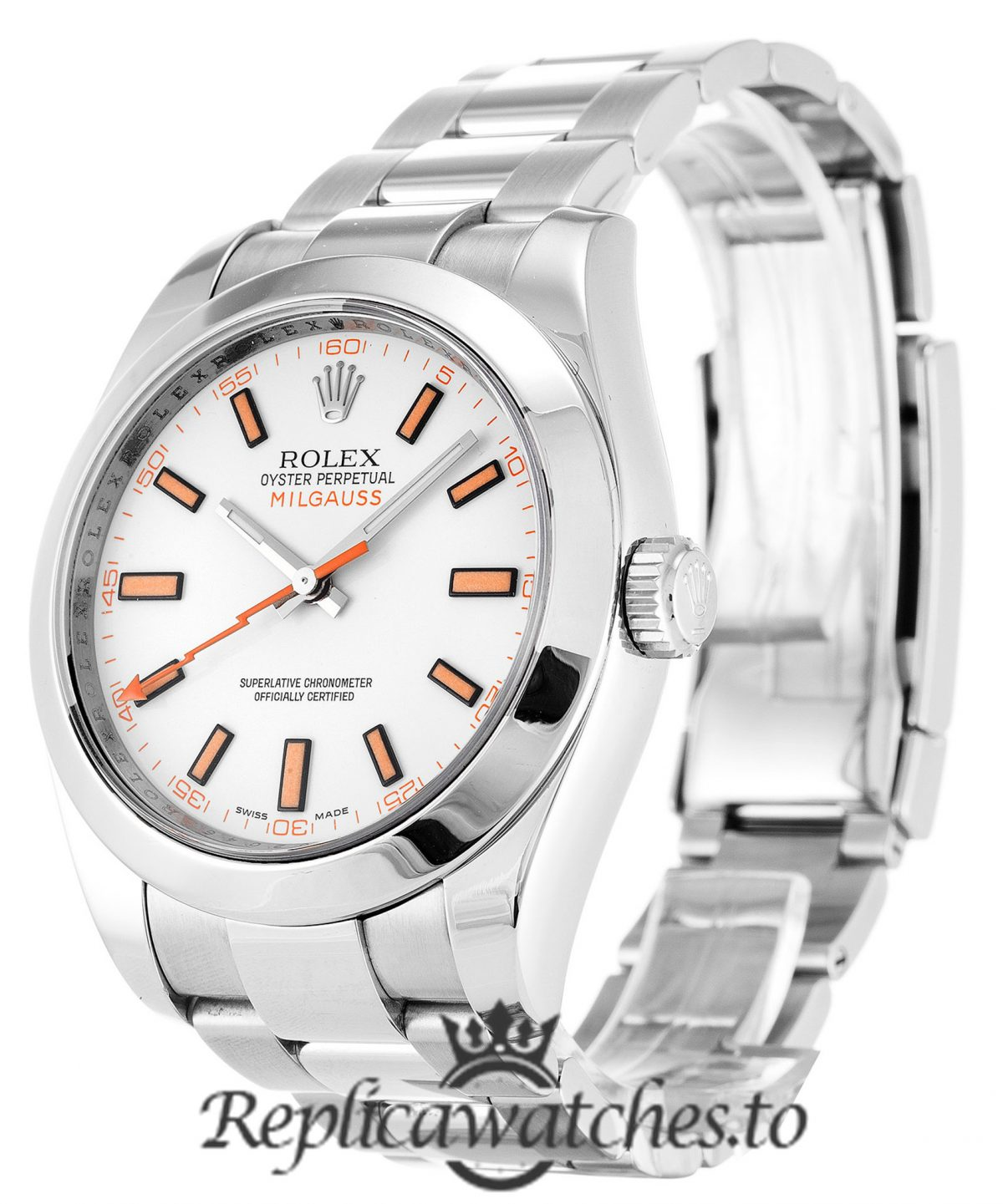 Rolex Milgauss Replica 116400 001 Silver Strap 40MM