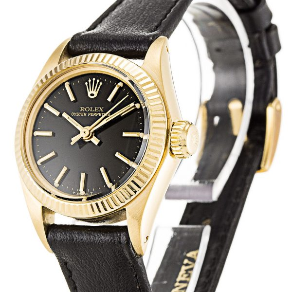 Rolex Oyster Perpetual Replica 6718 001 Yellow Gold Bezel 26MM