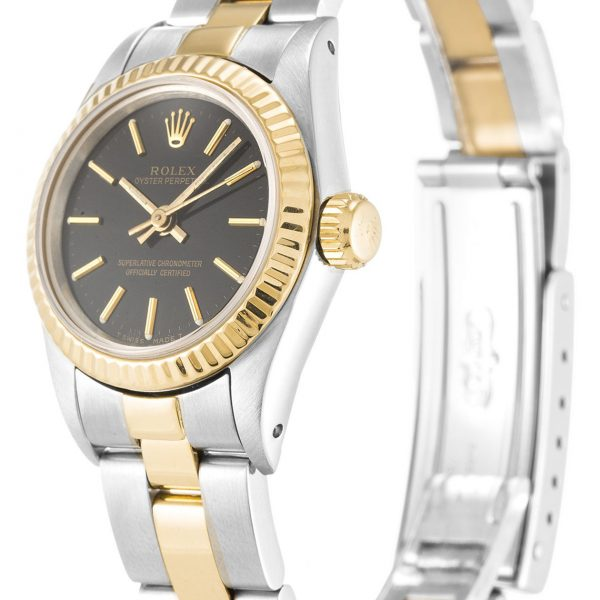 Rolex Oyster Perpetual Date Replica 67193 Yellow Gold Bezel 24MM