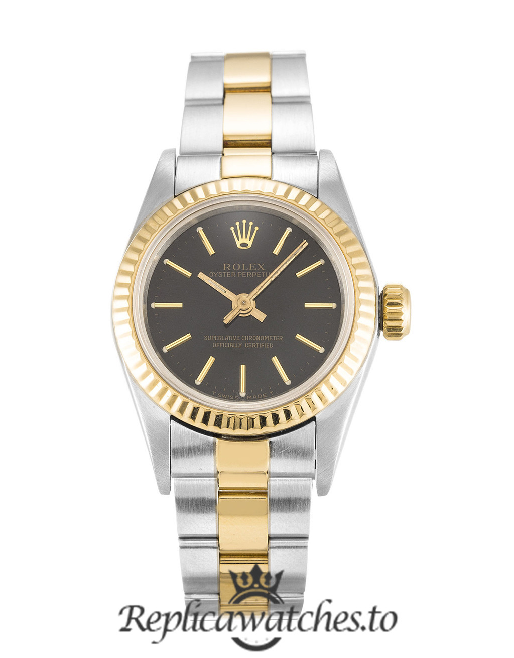 Rolex Oyster Perpetual Date Replica 67193 Yellow Gold Bezel 24MM