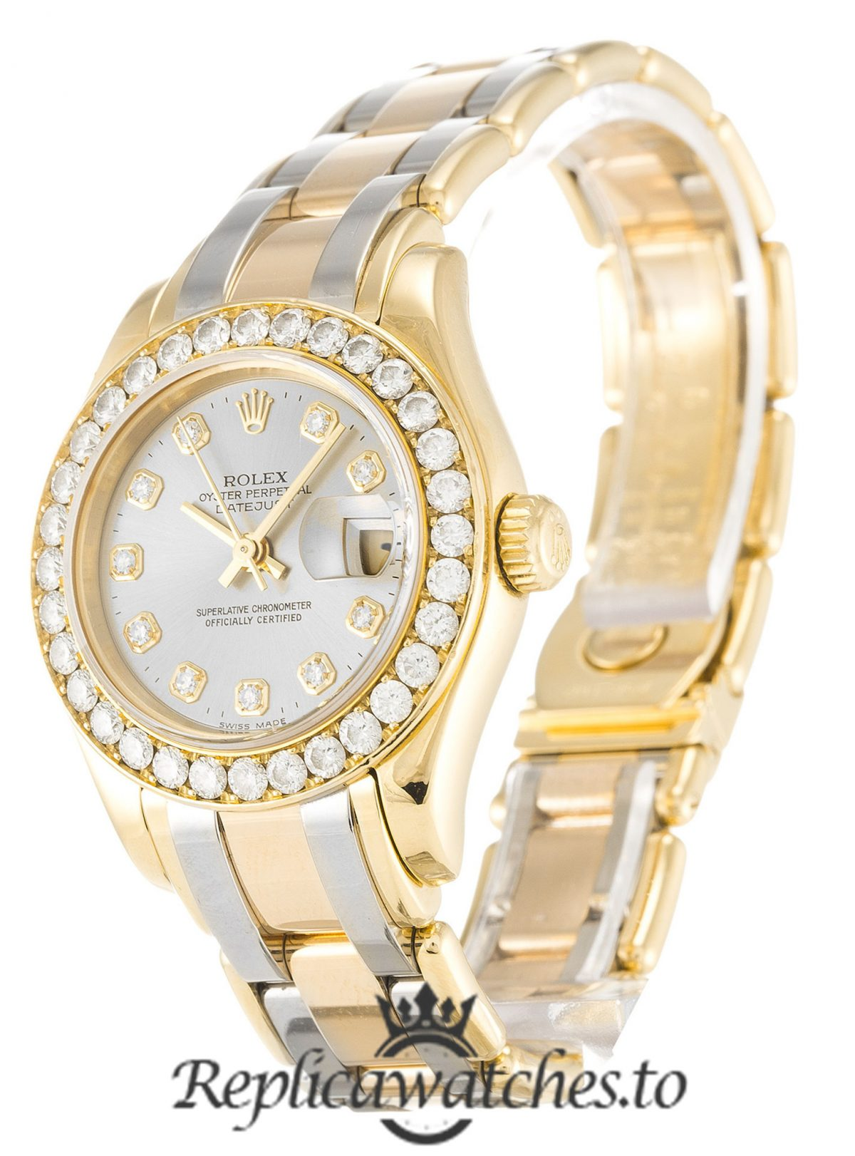 Rolex Pearlmaster Replica 80298 Diamonds Bezel 29MM