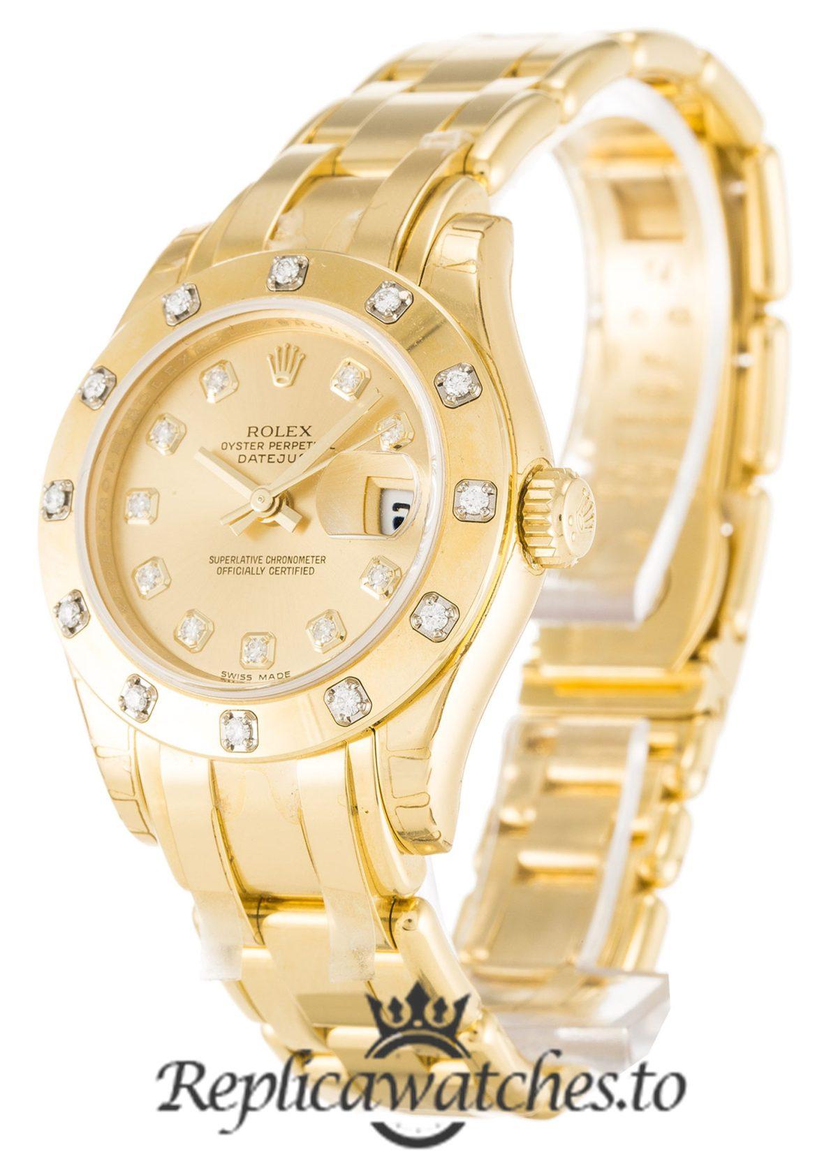 Rolex Pearlmaster Replica 80318 001 Yellow Gold Strap 29MM