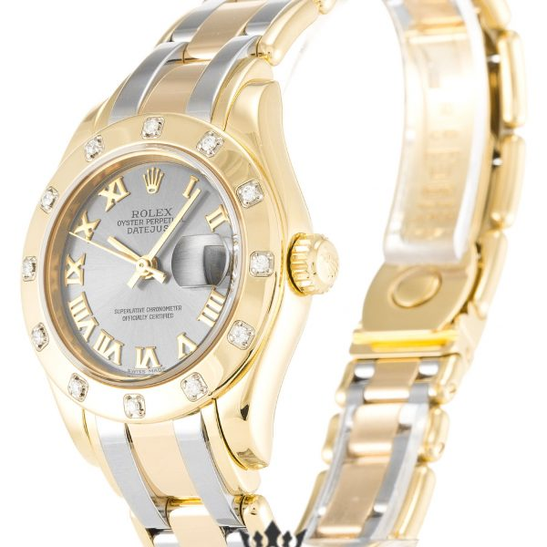 Rolex Pearlmaster Replica 80318 Yellow Gold Diamonds Bezel 28MM
