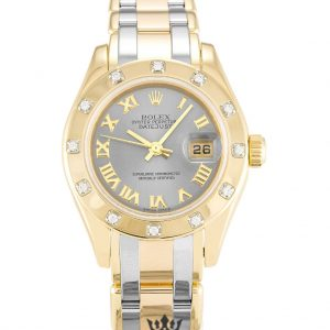 Rolex Pearlmaster Replica 80318 Yellow Gold Diamonds Bezel 28MM