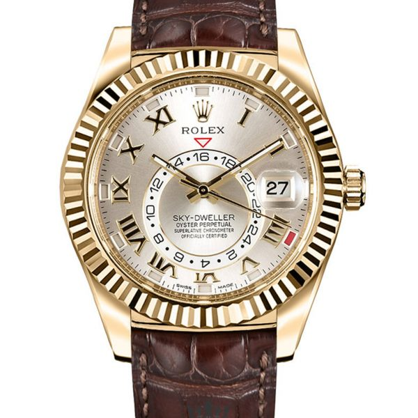Rolex Sky Dweller Replica 326135 001 Brown Strap 42MM