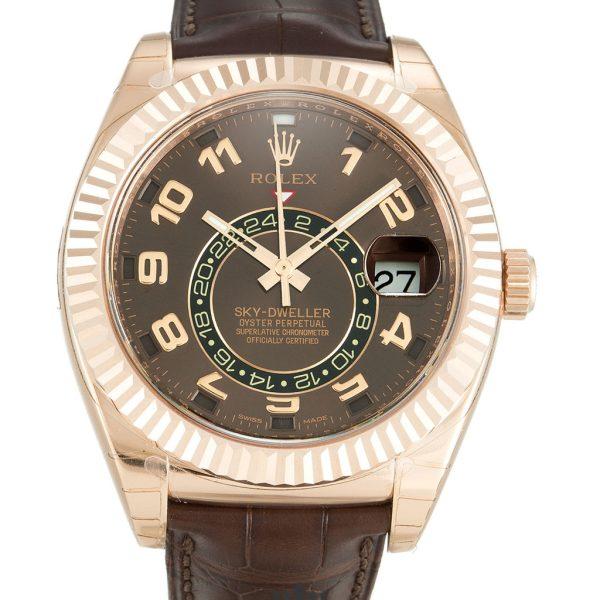 Rolex Sky Dweller Replica 326135 002 Brown Strap 42MM