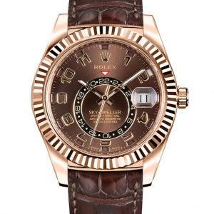 Rolex Sky Dweller Replica 326135 003 Brown Strap 42MM