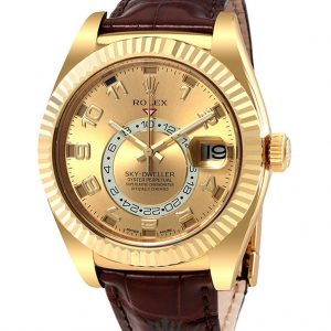 Rolex Sky Dweller Replica 326135 Brown Strap 42MM